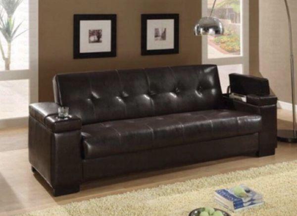 Cherrywood Leather Futon