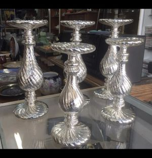5 Ribbed Silver Mercury Glass Pillar Candle Holders for Sale in Montebello, CA