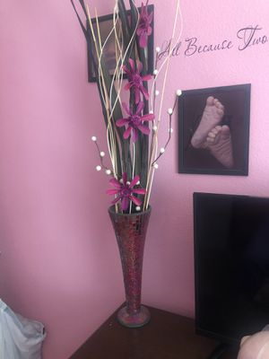 Tall vase with flowers for Sale in Ceres, CA