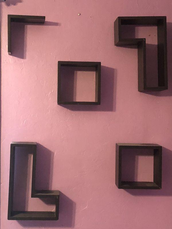 5 piece wall shelves