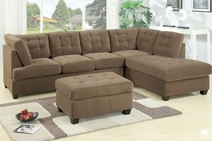 Waffle suede sofa sectional couch ottoman not included for Sale in Downey, CA