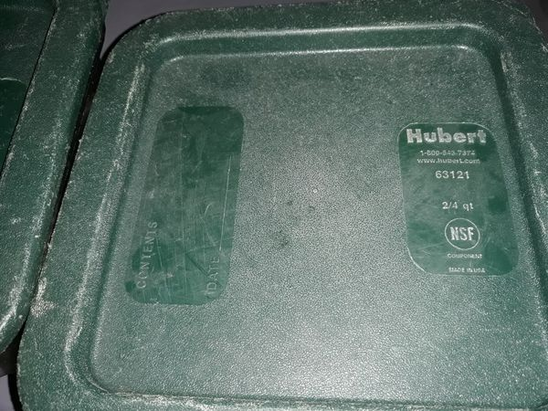 Both for 5.55 Restaurant food containers 2 of them with lids great for storing food at home