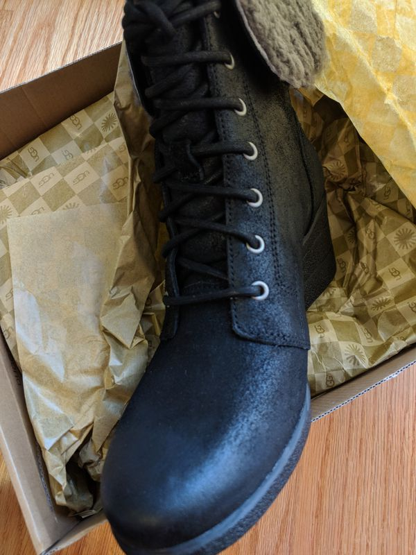 Brand new authentic UGG black laced up wedged booties women size 9