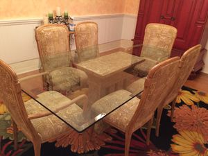 Glass dining table and chairs (Ara Collection). for Sale in Sanford, FL
