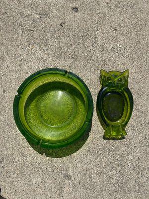 Set of 2 Vintage Viking Glass Antique Ashtrays - Owl Dish Green for Sale in South Lyon, MI