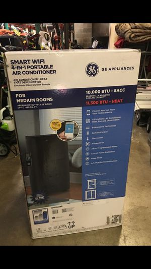 GE Smart WiFi 4-in-1 Portable 10,000 BTU Air Conditioner with 11,300 BTU Heater, Fan, and Dehumidifier. Brand New. Cash only for Sale in Joint Base Lewis-McChord, WA