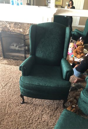 Emerald side wing chairs and ottoman for Sale in Fontana, CA