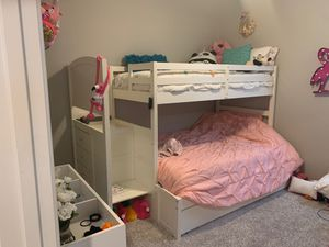 White Twin over Full Bunk bed with stairs/ dresser for Sale in Winchester, CA