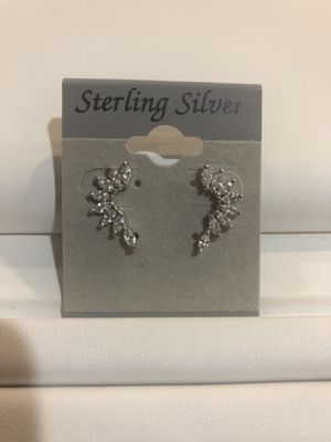 Sterling silver cz diamond earrings brand new never worn with box and gift packaging for Sale in Great Neck, NY