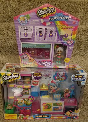 Shopkins Happy Place Rainbow Beach and Pick n Pack Small Mart for Sale in DeSoto, TX