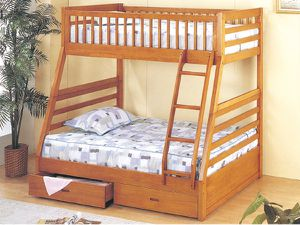 Oak twin full bunk bed with 2 drawers(new) for Sale in San Francisco, CA