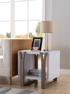 Pear End Table, White and Dark Taupe Finish for Sale in Santa Ana, CA