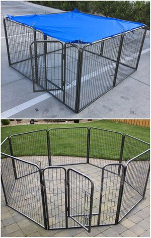 Brand new 32 inch tall x 32 inches wide each panel x 8 panels heavy duty exercise playpen with sun shade tarp cover fence safety gate dog cage crate for Sale in Norwalk, CA
