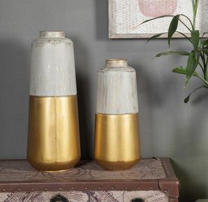 GOLD AND MULTICOLOR METAL FLOWER VASE set of two for Sale in Bloomington, CA