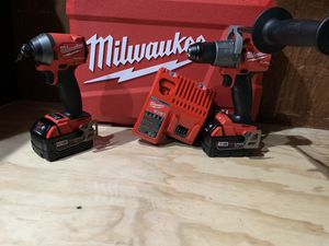 Set Milwaukee FUEL brushless with Impact drill,hammer drill,charger,hard case and battery's (5.0)BRAND NEW for Sale in Dallas, TX