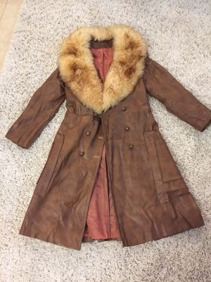 coat with fur neck by suede and leather for Sale in Miami, FL