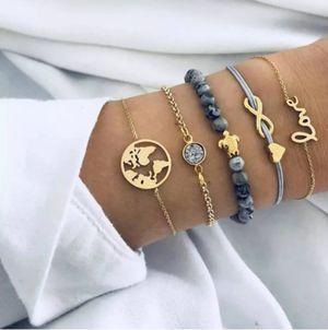 5-Piece Vintage Glam Charm Bracelet Set-Gift Ideas🎀🎁💙💗💍 for Sale in San Ramon, CA
