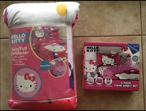 New Hello Kitty Twin/Full Comforter and Sheet set for Sale in Babson Park, FL