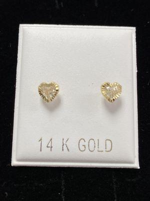 14Kt. Gold Diamond Cut Heart Bezel Stud Earrings for Sale in Los Angeles, CA