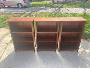 Set of three brown bookshelves for Sale in Cary, NC