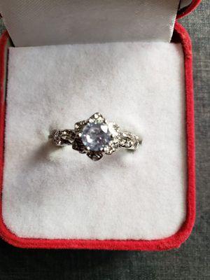Exquisite white sapphire gemstone diamond ring women 925 silver gemstone bridal wedding jewelry anniversary gift size 8 for Sale in Moreno Valley, CA