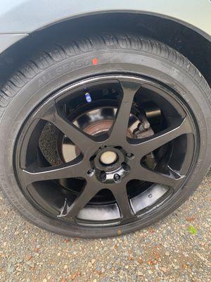 """17"""" Black 4 Lug universal rims with tires! for Sale in Gig Harbor, WA"""