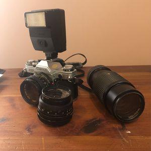 Canon AE1 35 mm camera + lenses & flash for Sale in Holmdel, NJ