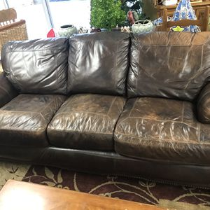 Haining Gelin Brown Leather Couch for Sale in Marietta, GA