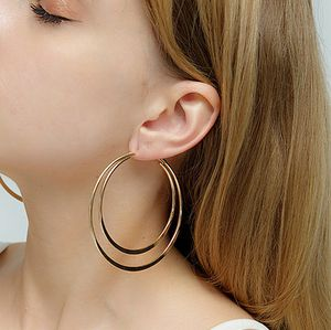 Exaggerated Large Smooth Circle Double Hoop Earring, Gold Color for Sale in Los Angeles, CA