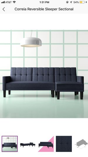NAVY LINEN REVERSIBLE SECTIONAL COUCH for Sale in Brooklyn, NY