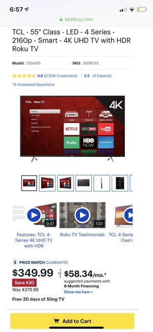 "TCL - 55"" Class - LED - 4 Series - 2160p - Smart - 4K UHD TV with HDR Roku TV with warranty for Sale in Sturtevant, WI"