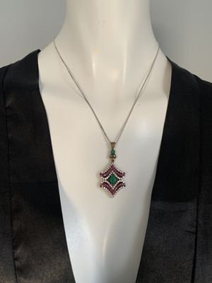 Handmade Turkish Silver Gemstones Pendent Necklace for Sale in Boston, MA