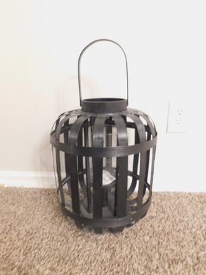 New wooden candle floor lantern basket weave black home decor for Sale in Charlotte, NC