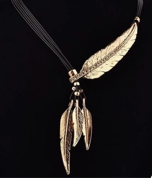 Feather Necklace Pendant Rope Leather Vintage Gold Collar Statement Necklace for Sale in Vienna, VA