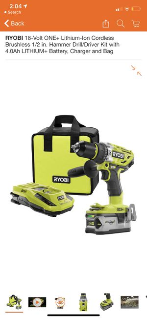 RYOBI 18-Volt ONE+ Lithium-Ion Cordless Brushless 1/2 in. Hammer Drill/Driver Kit with 4.0Ah LITHIUM+ Battery, Charger and Bag for Sale in Glendora, CA