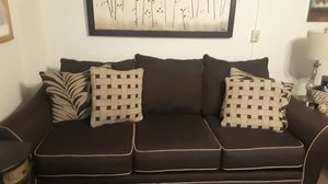 Two-piece couch with pillows matching mirror for Sale in Buffalo, NY