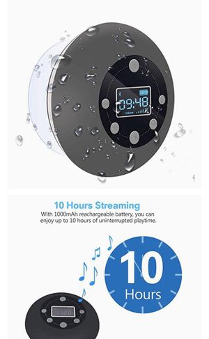 Shower Radio Bluetooth Speaker 5.0, CIYOYO Waterproof Wireless Bathroom Dab Music with Suction Cup FM Microphone 10 Hours LCD Clock Display SD Card P for Sale in Burke, VA
