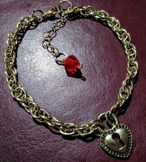 Heart lock theme charm bracelet for sale -gold- for Sale in San Antonio, TX