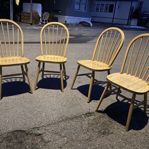 4 Wood Dining Chairs Made in Malaysia for Sale in Golden, CO