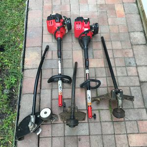 Troy-Bilt Weed eater with attachments (edger, straight and curve  trimmer) for Sale in Tampa, FL