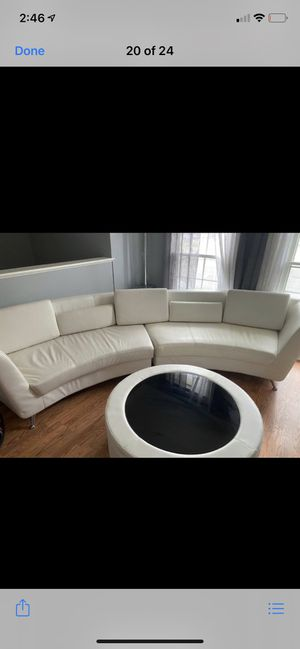 White leather sectional matching coffee table and TV stand for Sale in Oakton, VA