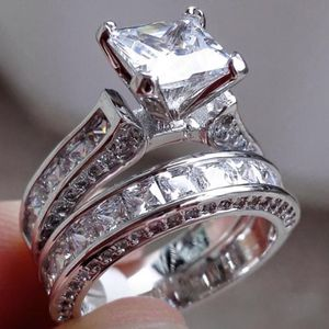 New 18 k white gold wedding ring set engagement ring wedding band for Sale in Orlando, FL
