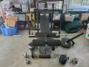 Biodyne Olympic Weight Bench, Bars, Dumbbells and Weight Plates for Sale in Midlothian, VA