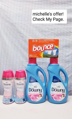 Downy fresh protect/Downy liquid softener/Bounce set for Sale in Temple Hills, MD