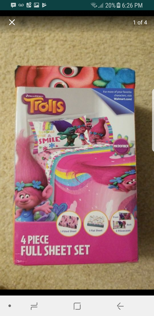 Trolls show me a smile full size complete sheet set new for Sale in Riverview, FL