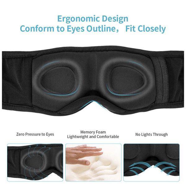 Sleep Headphones Bluetooth, Upgraded Sleep Mask Bluetooth Headphones- Ultra Thin HD Stereo Speakers Eye Mask for Sleeping, Soft and Handsfree, Long P