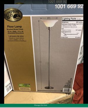 Hampton Bay 71.25 in. Brushed Nickel Torchiere Floor Lamp, 9.5-Watt LED Bulb Included beautiful lamps LED Régular is this one $34.97 plus tax and I for Sale in Hesperia, CA