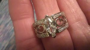 Size 8 white topaz and 925 Sterling wedding band, engagement ring for Sale in Lombard, IL