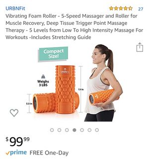 Brand new Vibrating Foam Roller 5 speed Comes With Usb Charger (pick up only) for Sale in Alexandria, VA