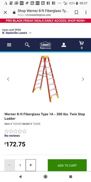 Werner 8ft fiberglass 300lb ladder for Sale in Nashville, TN